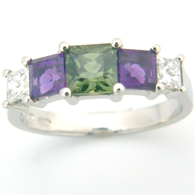Platinum Princess Cut Green Sapphire, Amethyst & Diamond Engagement Ring 1.jpg