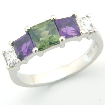 Platinum Princess Cut Green Sapphire, Amethyst & Diamond Engagement Ring 2.jpg
