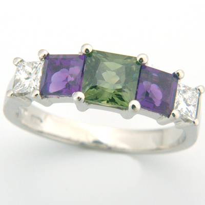 Platinum Princess Cut Green Sapphire, Amethyst & Diamond Engagement Ring 3.jpg