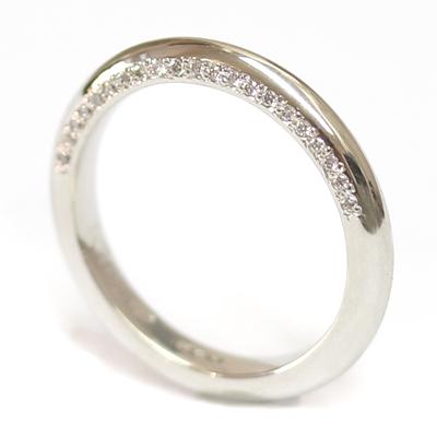 Platinum Wedding Ring with Shaped Profile and Diamond Set Edge 2.jpg