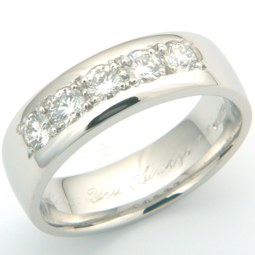 Platinum Wedding Ring with Shaped Profile and Diamond Set Edge.jpg