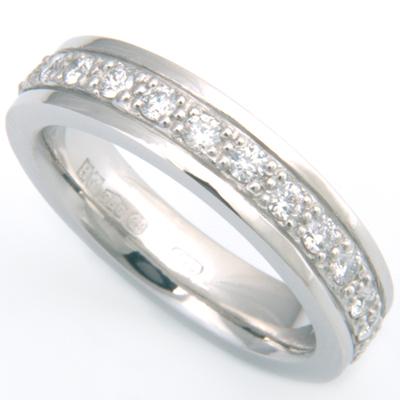Platinum Grain Set Diamond Wedding Ring with Diamond Cut Lines.jpg