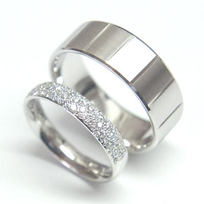 Platinum Pave Set Diamond Wedding Ring & Palladium Wedding Pair 1.jpg
