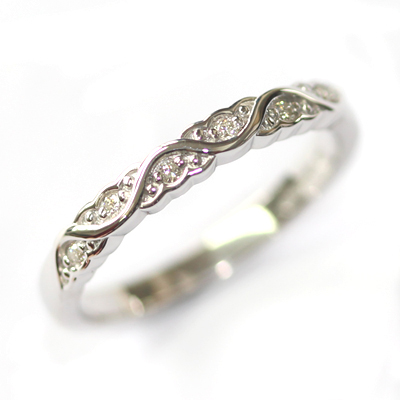 White Gold Diamond Set Wave Wedding Ring with a Scalloped Edge 1.jpg