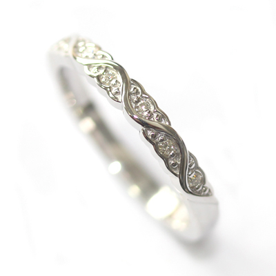 White Gold Diamond Set Wave Wedding Ring with a Scalloped Edge 3.jpg