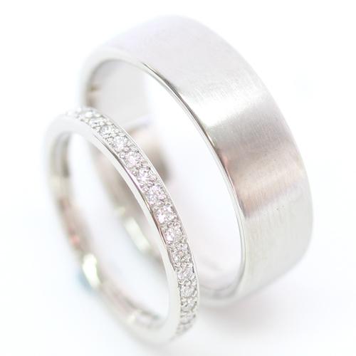 Platinum Diamond Set and Brushed Finish Wedding Ring Set.jpg