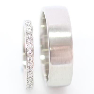 Platinum Diamond Set and Brushed Finish Wedding Ring Set 2 - Copy.jpg