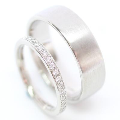 Platinum Diamond Set and Brushed Finish Wedding Ring Set 1.jpg