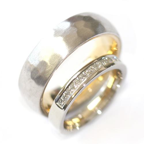 White Gold Diamond and Hammered Effect Wedding Ring Set.jpg