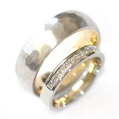 White Gold Diamond and Hammered Effect Wedding Ring Set 1.jpg