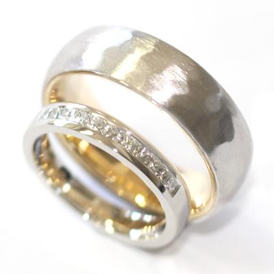 White Gold Diamond and Hammered Effect Wedding Ring Set 3.jpg