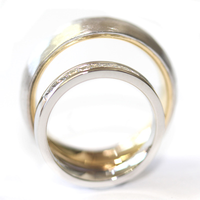 White Gold Diamond and Hammered Effect Wedding Ring Set 4.jpg