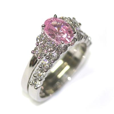 Platinum Morganite and Diamond Engagement Ring and Wedding Ring Set 2.jpg