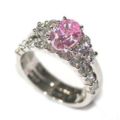 Platinum Morganite and Diamond Engagement Ring and Wedding Ring Set 1.jpg