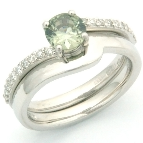 Palladium Green Sapphire & Diamond Engagement Ring & Fitted Wedding Ring.jpg