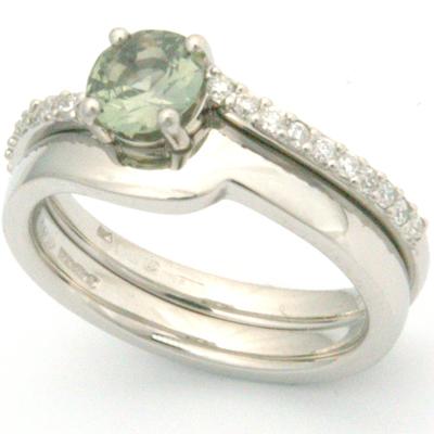 Palladium Green Sapphire & Diamond Engagement Ring & Fitted Wedding Ring 1.jpg