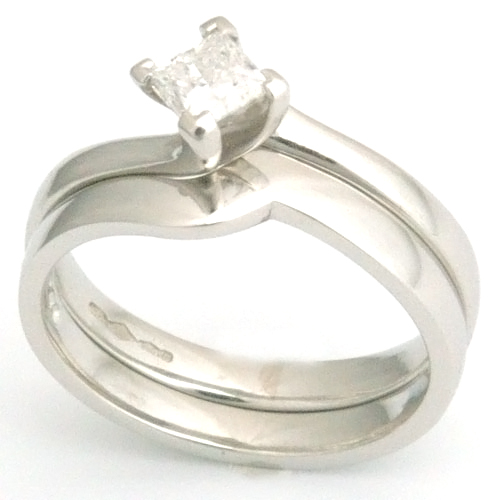 Platinum Fitted Wedding Ring to Princess Cut Solitaire Engagement Ring.jpg