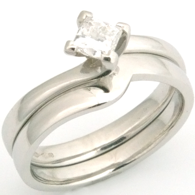 Platinum Fitted Wedding Ring to Princess Cut Solitaire Engagement Ring 2.jpg