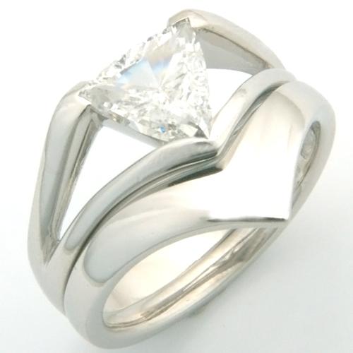 Platinum Fitted Wedding Ring to Trillion Diamond Engagement Ring.jpg