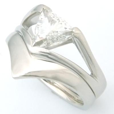 Platinum Fitted Wedding Ring to Trillion Diamond Engagement Ring 1.jpg