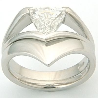 Platinum Fitted Wedding Ring to Trillion Diamond Engagement Ring 2.jpg