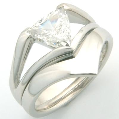 Platinum Fitted Wedding Ring to Trillion Diamond Engagement Ring 3.jpg