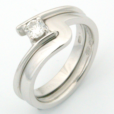 18ct White Gold Fitted Wedding Ring to Contemporary Solitaire Engagement Ring 2.jpg