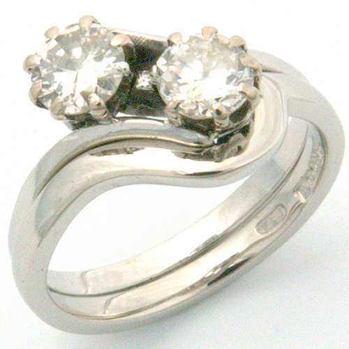 18ct White Gold Fitted Wedding Ring to Antique Engagement Ring.jpg