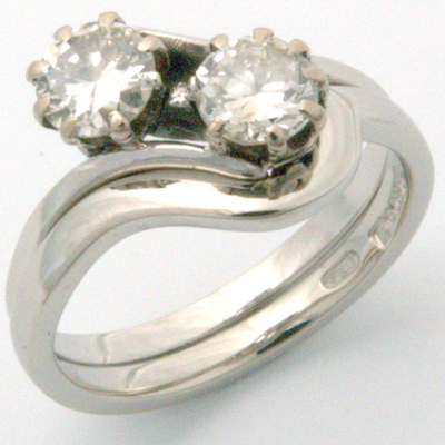 18ct White Gold Fitted Wedding Ring to Antique Engagement Ring 1.jpg