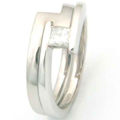 18ct White Gold Fitted Wedding Ring to Sweep Solitaire Engagement Ring 2.jpg