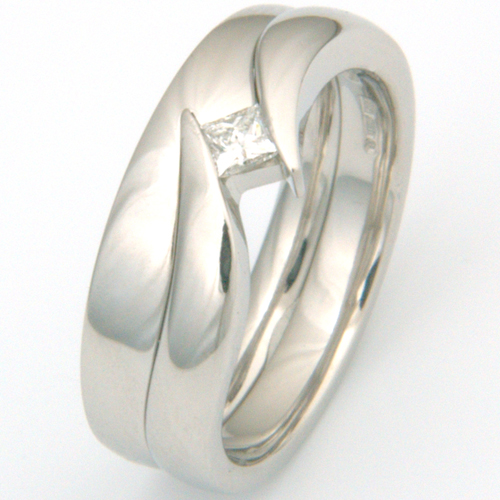 Platinum Plain Fitted Wedding Ring to Princess Cut Engagement Ring.jpg