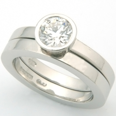 Platinum Fitted Wedding Ring to Rub Set Solitaire Engagement Ring 1.jpg