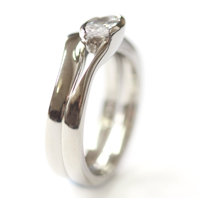 Plain Platinum Fitted Wedding Ring to Solitaire Marquise Diamond Engagement Ring 3.jpg