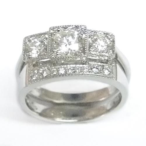 Platinum Diamond Set Fitted Wedding Ring to Trilogy Engagement Ring ring.jpg