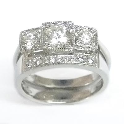 Platinum Diamond Set Fitted Wedding Ring to Trilogy Engagement Ring 1.jpg
