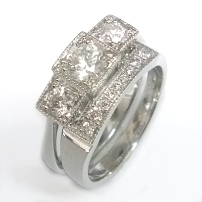 Platinum Diamond Set Fitted Wedding Ring to Trilogy Engagement Ring 2.jpg