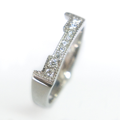 Platinum Diamond Set Fitted Wedding Ring to Trilogy Engagement Ring 4.jpg