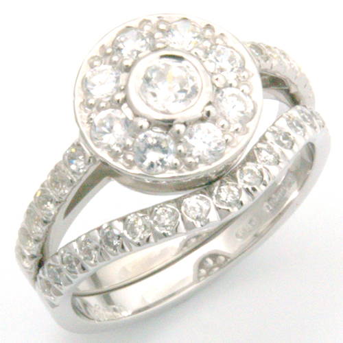 Platinum Diamond Fitted Wedding Ring to Tiffany Halo Style Engagement Ring.jpg