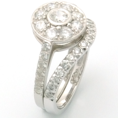 Platinum Diamond Fitted Wedding Ring to Tiffany Halo Style Engagement Ring 1.jpg