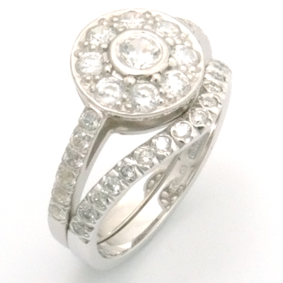 Platinum Diamond Fitted Wedding Ring to Tiffany Halo Style Engagement Ring 3.jpg