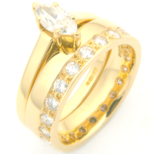 18ct Yellow Gold Diamond Fitted Wedding Ring for Marquise Engagement Ring.jpg
