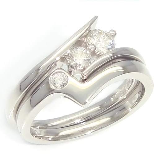 Platinum Round Brilliant Cut Diamond Engagement and Fitted Wedding Ring Set 2.jpg