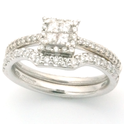 18ct White Gold Handcrafted Diamond Set Fitted Wedding Ring 2.jpg