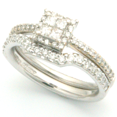 18ct White Gold Handcrafted Diamond Set Fitted Wedding Ring 1.jpg