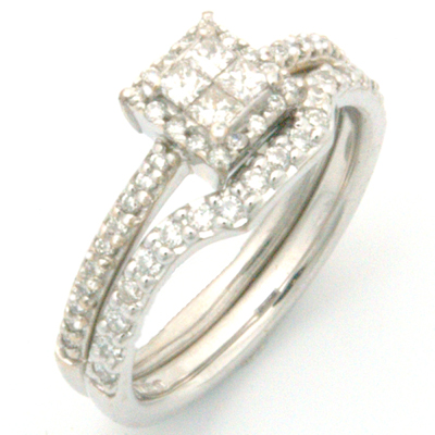 18ct White Gold Handcrafted Diamond Set Fitted Wedding Ring 4.jpg