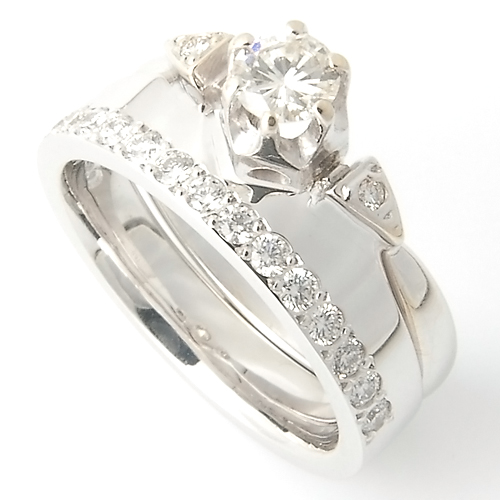 18ct White Gold Diamond Set Fitted Wedding Ring to Trilogy Engagement Ring.jpg