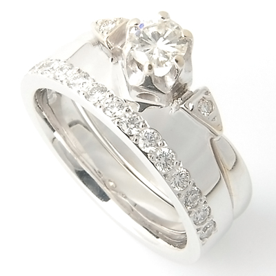 18ct White Gold Diamond Set Fitted Wedding Ring to Trilogy Engagement Ring 1.jpg