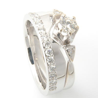 18ct White Gold Diamond Set Fitted Wedding Ring to Trilogy Engagement Ring 5.jpg