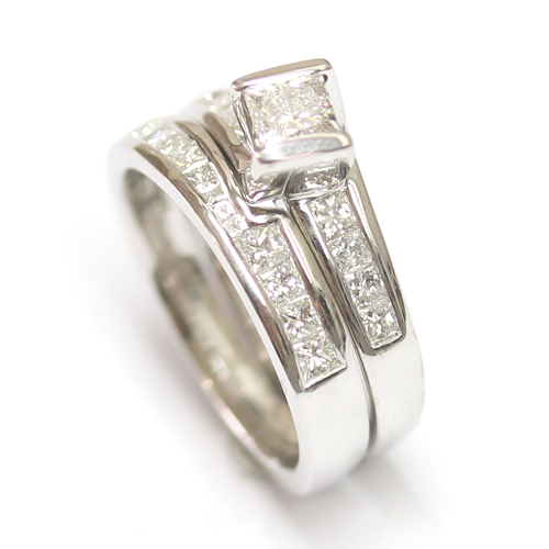 18ct White Gold Diamond Set Fitted Wedding Ring to Twist Engagement Ring 2.jpg