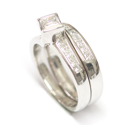 18ct White Gold Diamond Set Fitted Wedding Ring to Twist Engagement Ring 5.jpg